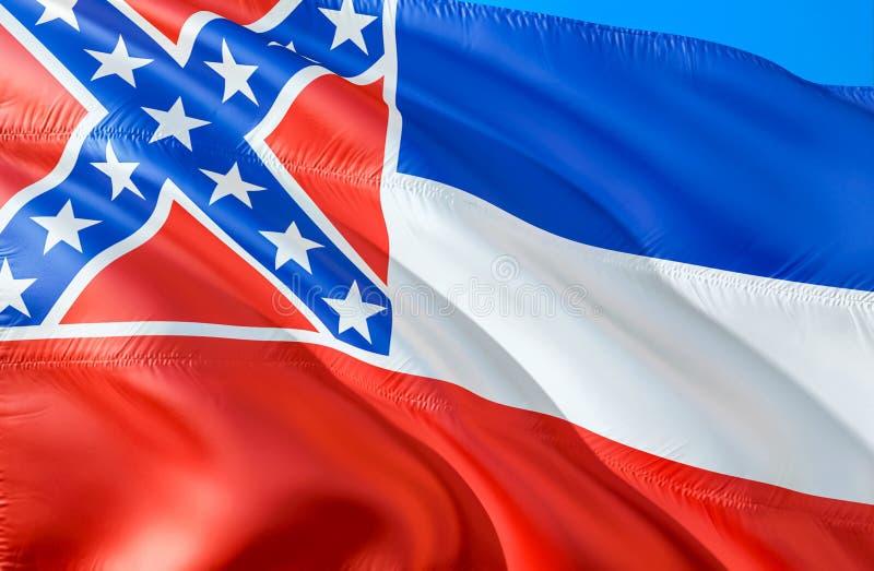 Mississippi flagga 3D som vinkar design för USA tillståndsflagga MedborgareUSA-symbolet av den Mississippi staten, tolkning 3D Na royaltyfria bilder