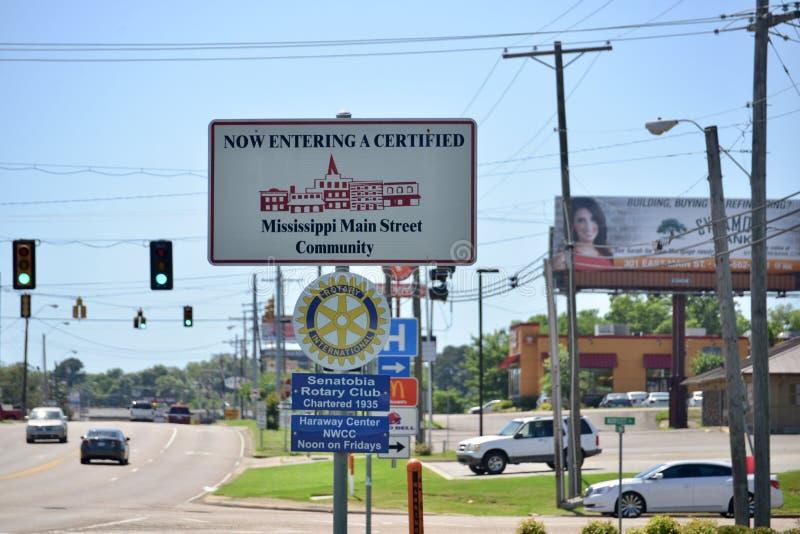 Mississippi Main Street gemenskap royaltyfria bilder