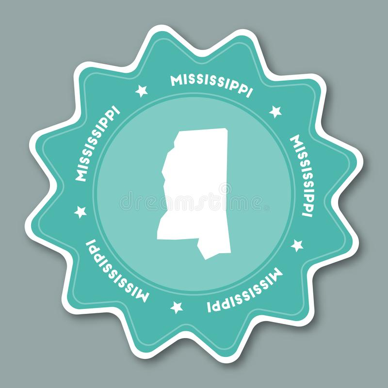 Mississippi Map Sticker In Trendy Colors Stock Vector