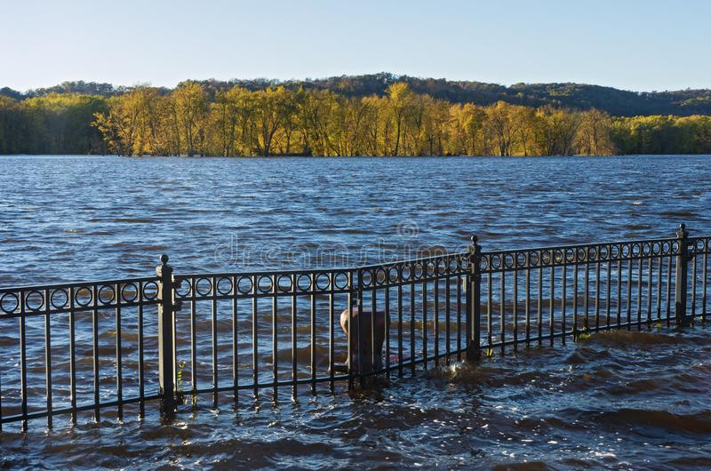 Mississippi River Autumn Horizon and Floodwater. Mississippi river and wooded banks from st feriole island during autumn flood in prairie du chien wisconsin royalty free stock photos