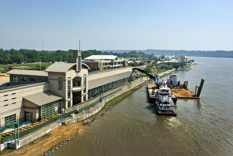 Mississippi River flood preparation. Bryant O. Hammett Conference and Convention Center on the Mississippi River, Vidalia, Louisiana, taken 5-9-11. HESCO baskets stock photography
