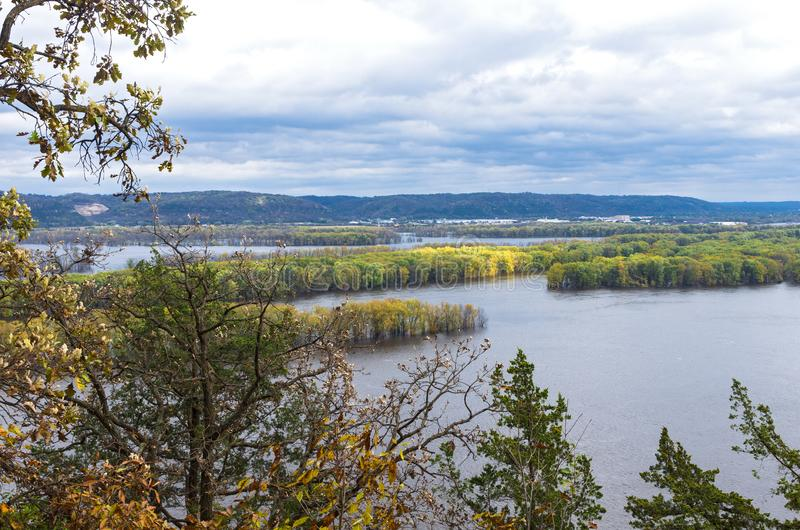 Mississippi River Horizon at Iowa Border. Aerial above mississippi river from effigy mounds national monument in iowa and wisconsin across river royalty free stock photos