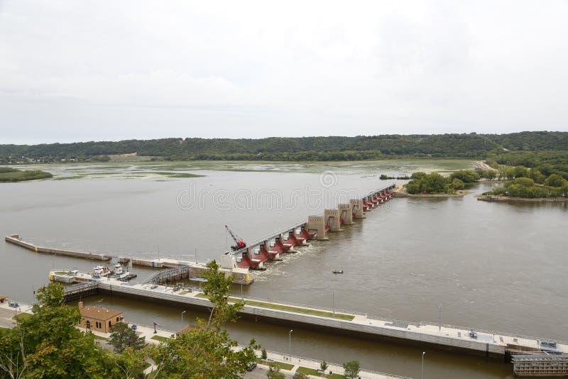 Mississippi River lock and dam 11 Dubuque, Iowa stock photo