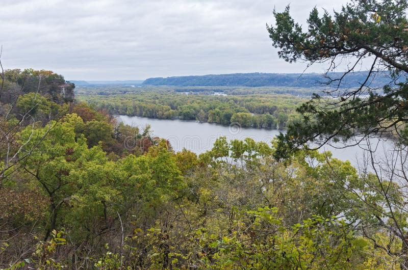 Mississippi River Overlook at Effigy Mounds. Overlooking mississippi river from effigy mounds national monument in iowa and wisconsin in distance stock photography