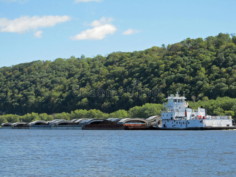 Mississippi River Tugboat and Barges royalty free stock photo