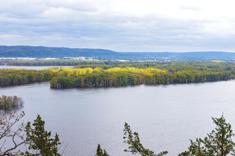 Mississippi River Valley and Woodlands at Iowa Border. Overlooking mississippi river and wooded islets from atop bluffs in iowa and wisconsin in distance stock images