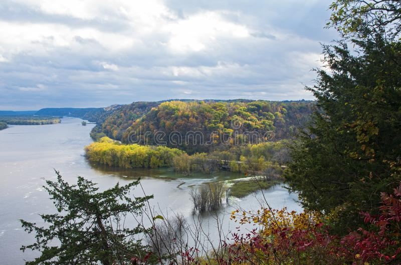 Mississippi River and Woodlands During Autumn in Iowa. Above mississippi river and woodlands during autumn from effigy mounds national monument in iowa royalty free stock photography