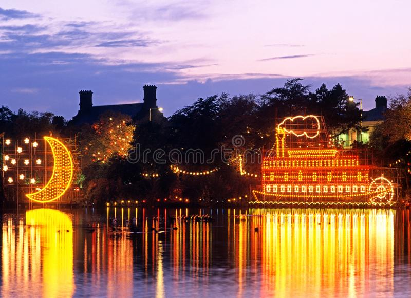 Mississippi riverboat, Walsall, England. Walsall Arboretum annual illuminations display featuring a Mississippi riverboat, Walsall, West Midlands, England, UK stock photo