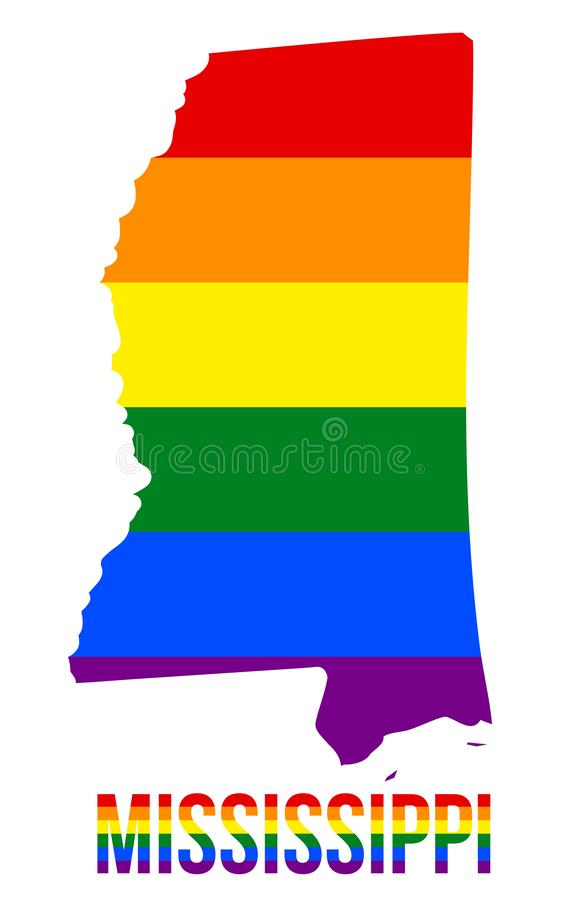 Mississippi State Map in LGBT Rainbow Flag Comprised Six Stripes With Mississippi LGBT Text. The Flag Comprised Six Stripes; Meaning to Each of The Colors royalty free illustration
