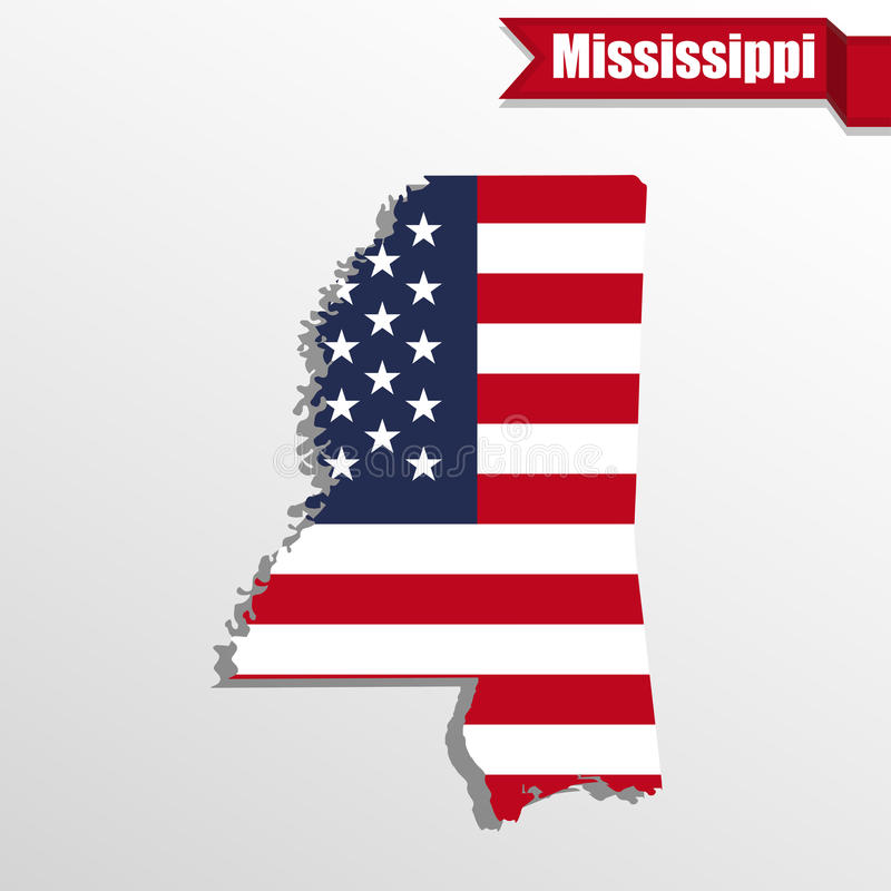 Mississippi State map with US flag inside and ribbon stock illustration