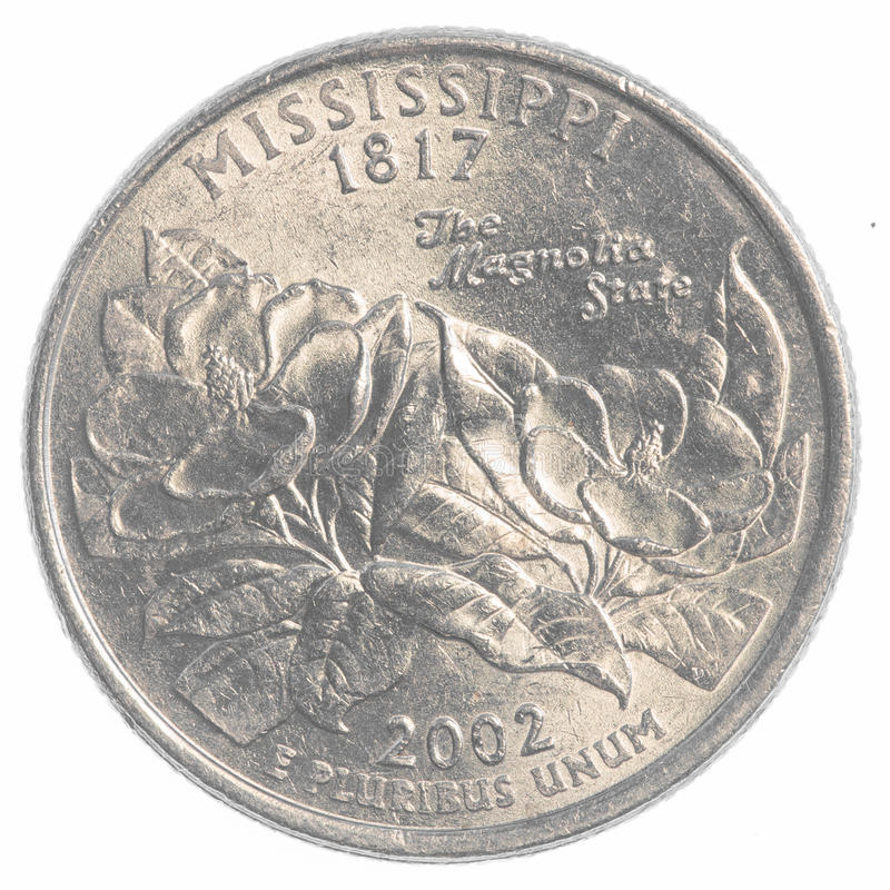 Mississippi state quarter. Coin isolated on white background royalty free stock photos