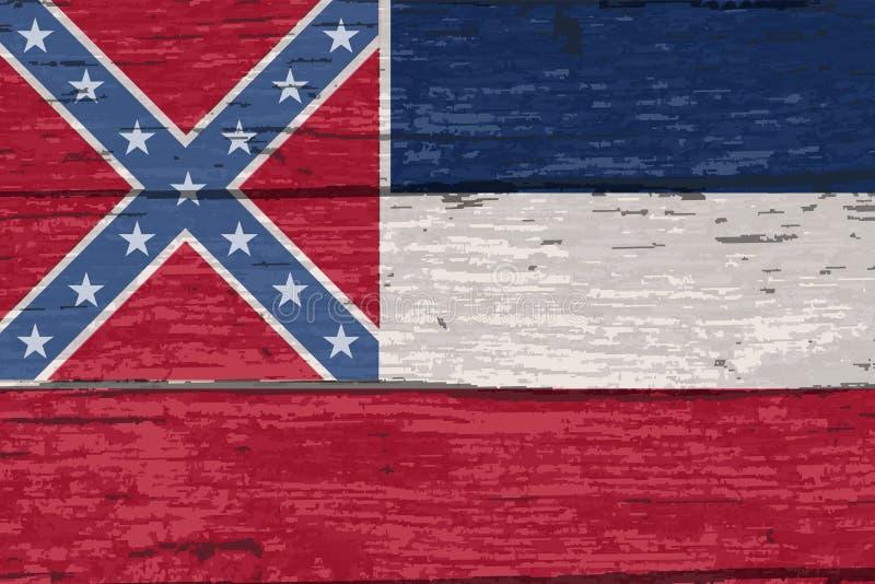Mississippi statflagga på gammal timmer royaltyfri illustrationer