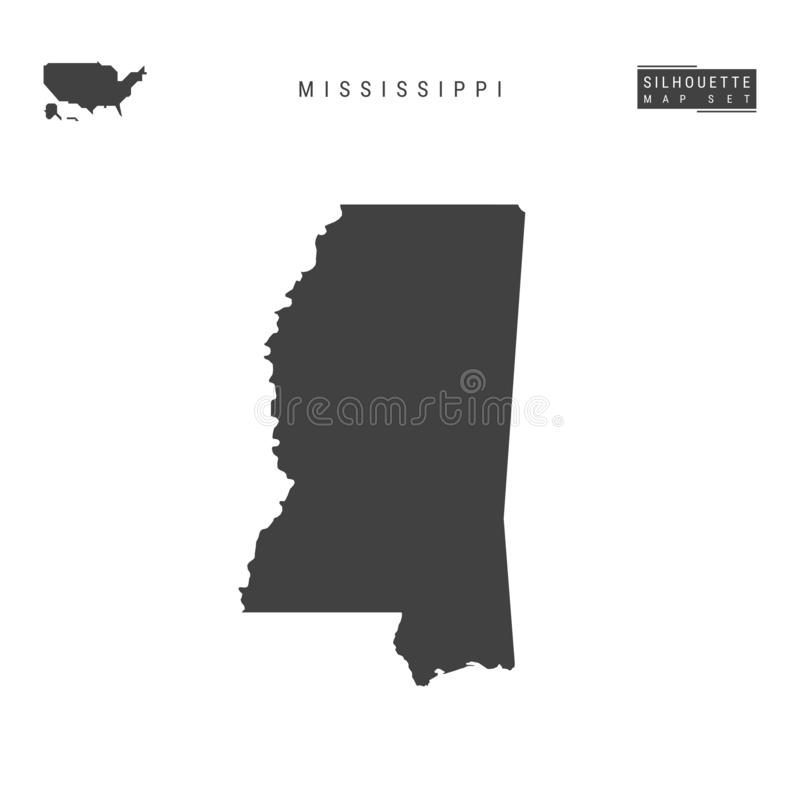 Mississippi USA påstår vektoröversikten som isoleras på vit bakgrund Hög-specificerad svart konturöversikt av Mississippi royaltyfri illustrationer
