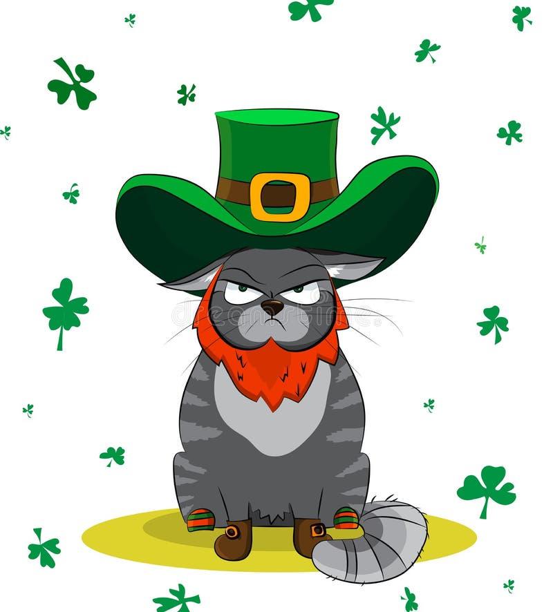 Missnöjd katt som kläs som ett troll Dag för affischSt Patrick ` s royaltyfri fotografi