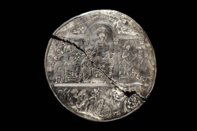 Missorium av Theodosius I royaltyfria foton