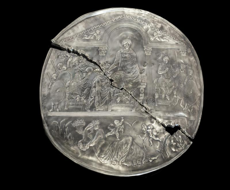 Missorium av Theodosius I royaltyfria bilder