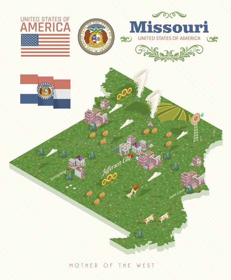 Missouri är en USA-stat isometriskt Turist- vykort och souvenir Härliga ställen av Amerikas förenta stater på stolpen royaltyfri illustrationer