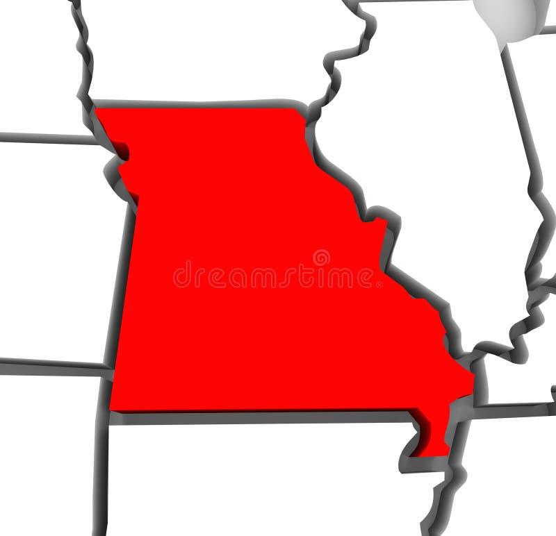 Missouri abstrakta 3D stanu Czerwona mapa Stany Zjednoczone Ameryka ilustracji
