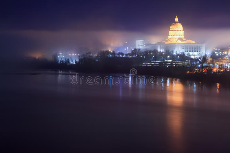 Missouri Capitol Skyline in the Fog. A foggy night skyline of the Missouri Capitol building in Jeffereson City, Missouri royalty free stock image