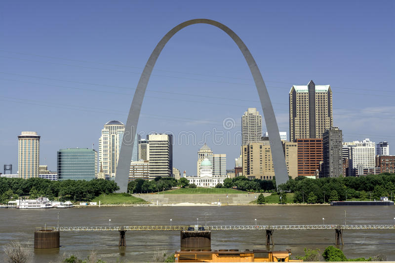 Missouri city with river and capital building. Famous St. Louis Arch and Mississippi river royalty free stock photo