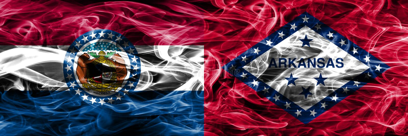 Missouri contra as bandeiras coloridas do fumo do conceito de Arkansas colocadas de lado a lado fotos de stock