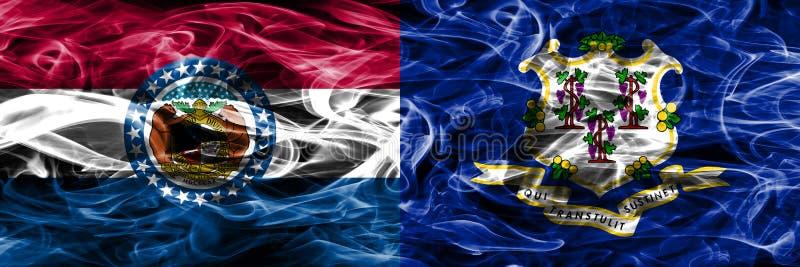 Missouri contra as bandeiras coloridas do fumo do conceito de Connecticut colocadas de lado a lado fotos de stock