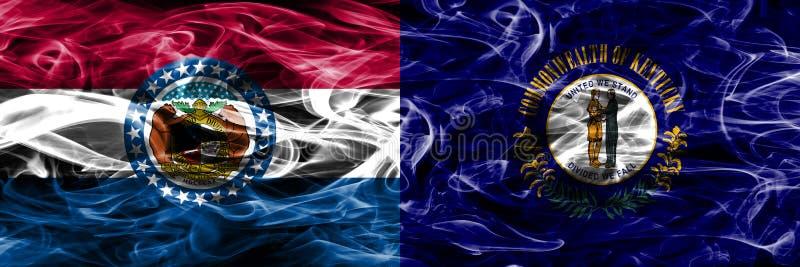Missouri contra as bandeiras coloridas do fumo do conceito de Kentucky colocadas de lado a lado imagens de stock royalty free