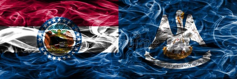 Missouri contra as bandeiras coloridas do fumo do conceito de Louisiana colocadas de lado a lado imagens de stock