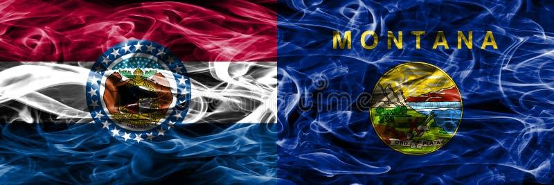 Missouri contra as bandeiras coloridas do fumo do conceito de Montana colocadas de lado a lado fotos de stock royalty free