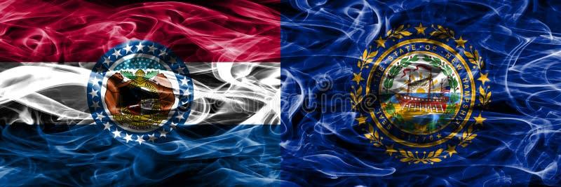Missouri contra as bandeiras coloridas do fumo do conceito de New Hampshire colocadas de lado a lado fotos de stock royalty free