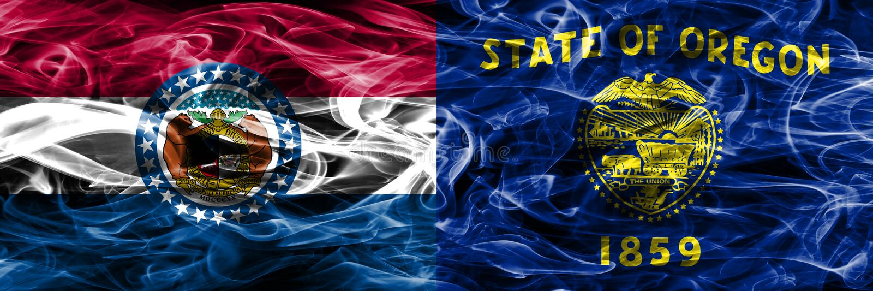 Missouri contra as bandeiras coloridas do fumo do conceito de Oregon colocadas de lado a lado imagem de stock royalty free