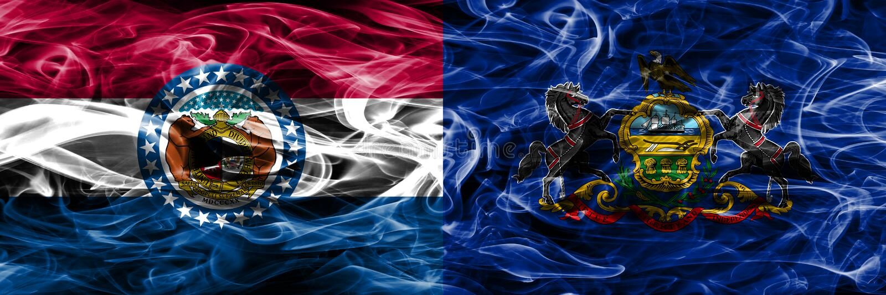 Missouri contra as bandeiras coloridas do fumo do conceito de Pensilvânia colocadas de lado a lado fotografia de stock royalty free