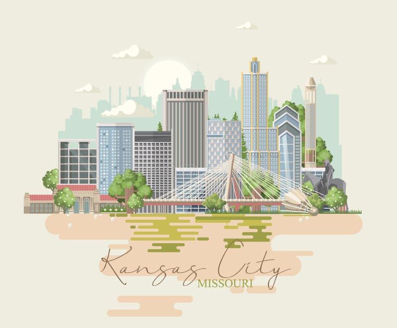 Missouri is een staat van de V.S. De stad van Kansas Toeristenprentbriefkaar en herinnering Mooie plaatsen van de Verenigde State royalty-vrije illustratie