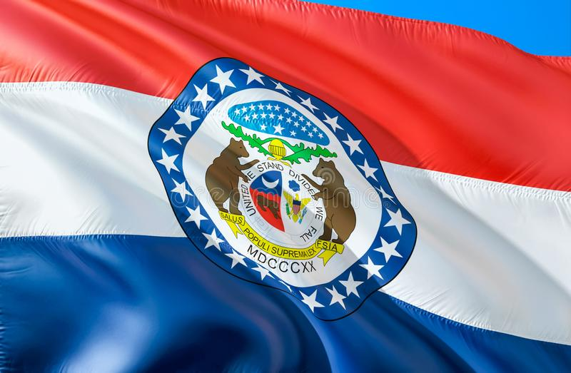 Missouri flag. 3D Waving USA state flag design. The national US symbol of Missouri state, 3D rendering. National colors and stock image