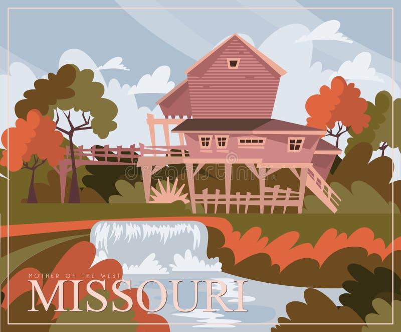 Missouri jest stanem usa Pojęcie turystyczna pocztówka i pamiątka Piękni miejsca Stany Zjednoczone Ameryka na poczcie ilustracja wektor