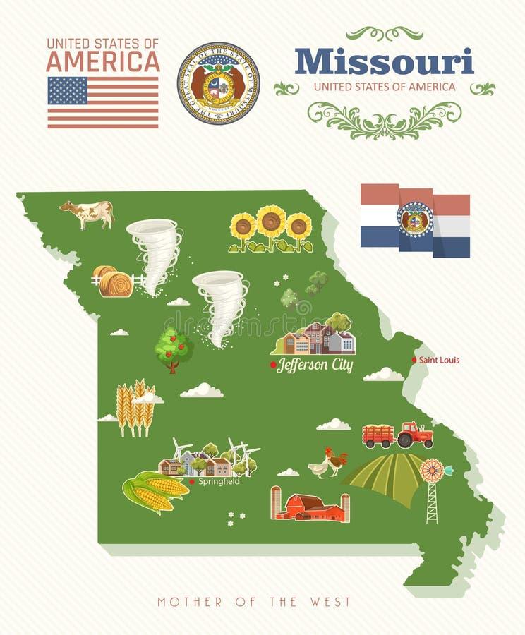 Missouri jest stanem usa Turystyczna pocztówka i pamiątka Piękni miejsca Stany Zjednoczone Ameryka na poczcie ilustracji