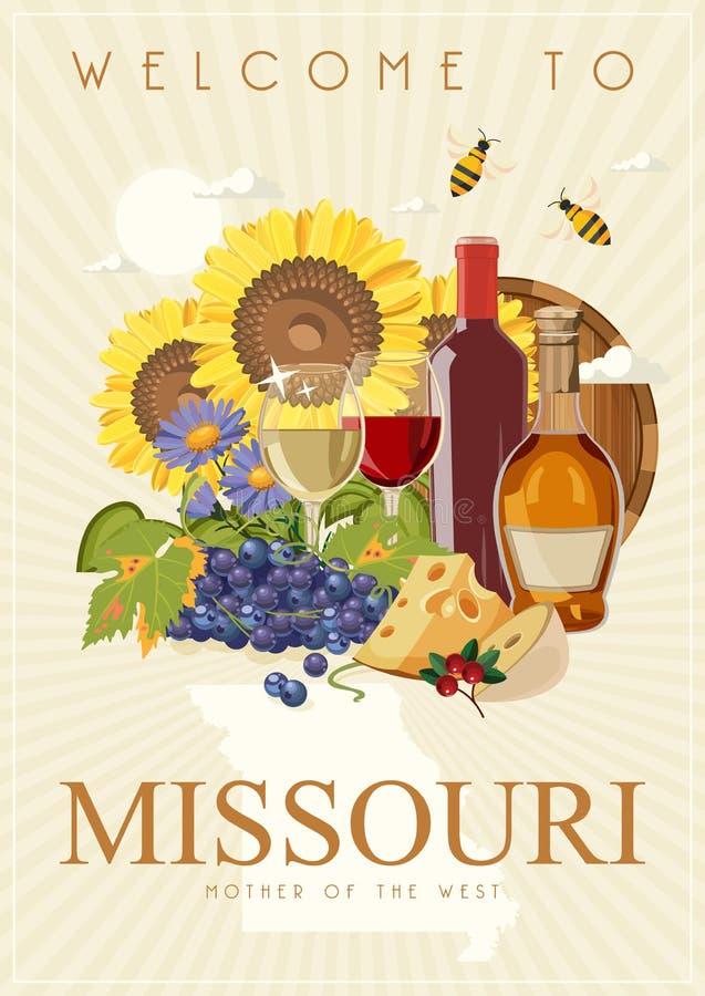 Missouri jest stanem usa Wino i winogrono Turystyczna pocztówka i pamiątka Piękni miejsca Stany Zjednoczone Ameryka na poczcie ilustracji