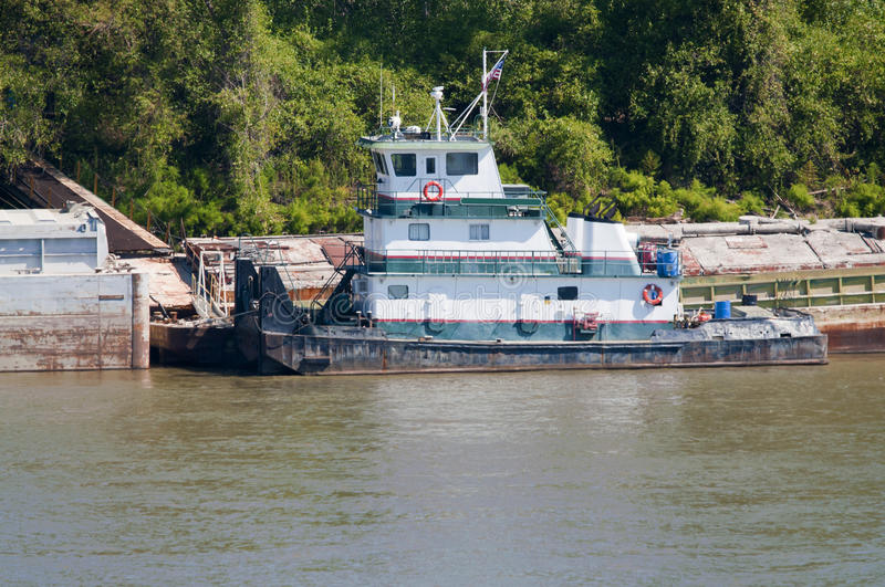 Missouri River tugboat. A tugboat docked on the Missouri river royalty free stock photos