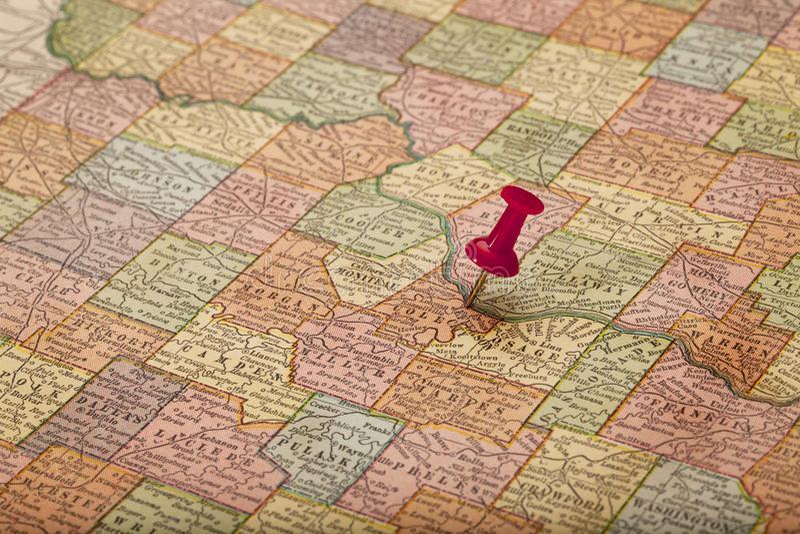 Download Missouri River On Vintage Map Stock Image - Image: 17157023