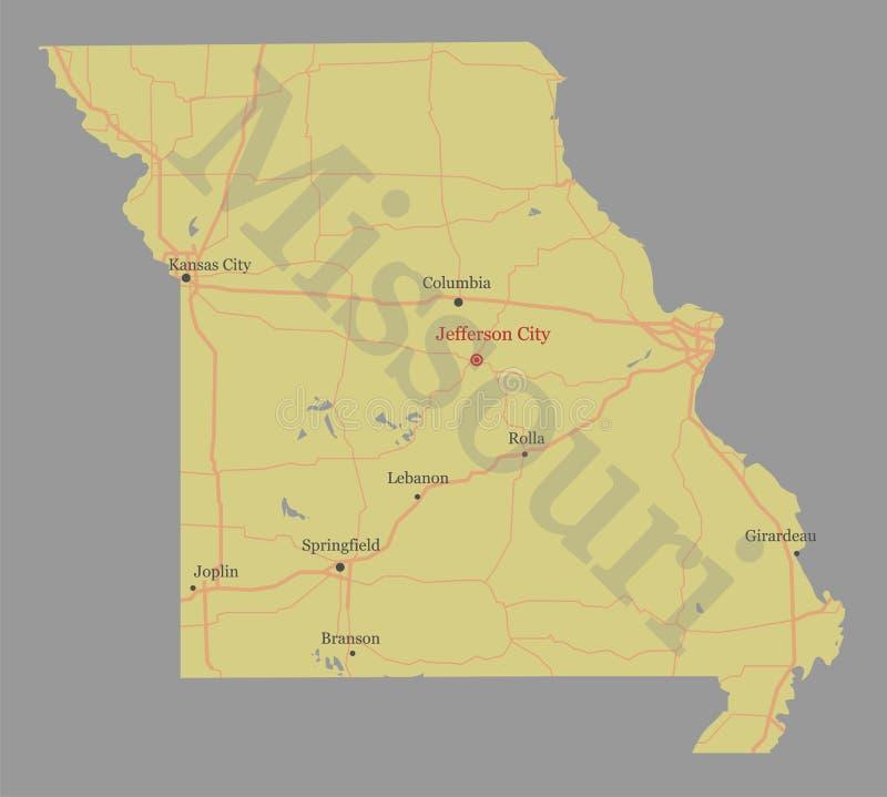 Missouri specificerade den exakta detaljerade översikten för den statliga vektorn med gemenskap royaltyfri illustrationer