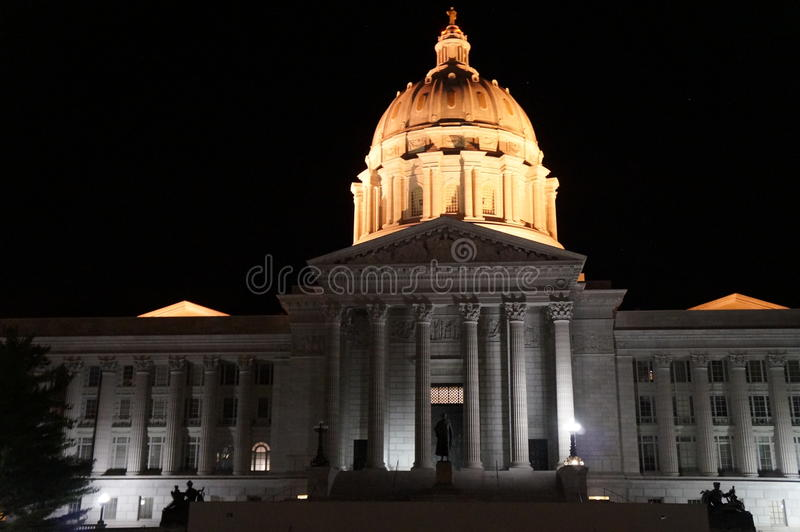 Missouri state capital building Jefferson City Mo. Missouri capital building at night royalty free stock photos