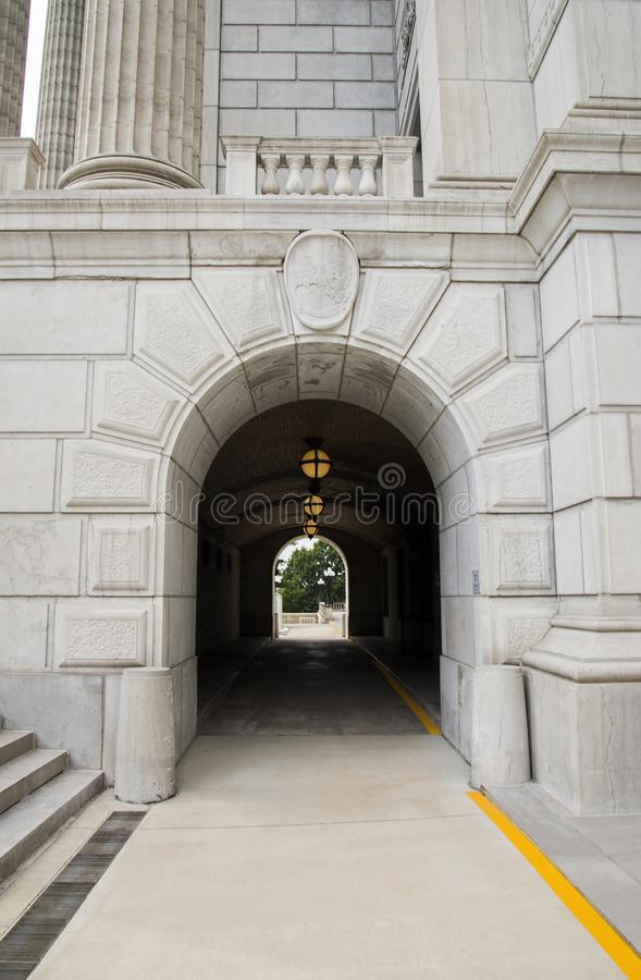 Missouri state capital lower level intrance. The pathway to the lower level of the Missouri state capital building royalty free stock image