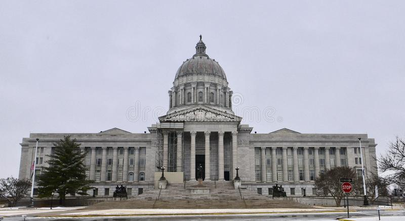 Missouri State Capitol Building in Falling Snow stock photo
