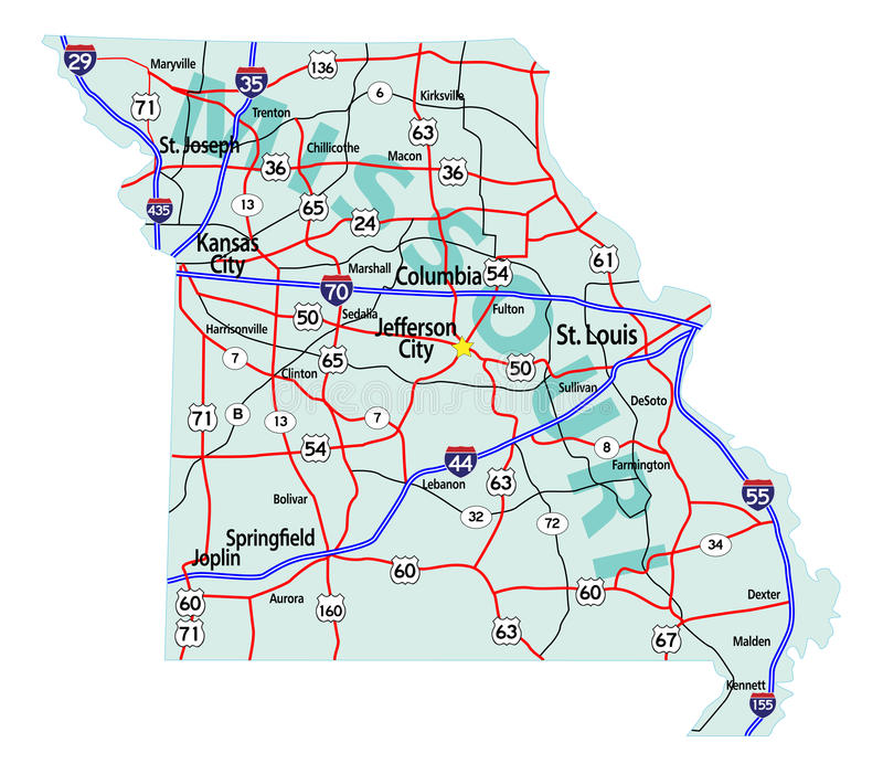 Download Missouri State Interstate Map Stock Vector - Image: 14901038
