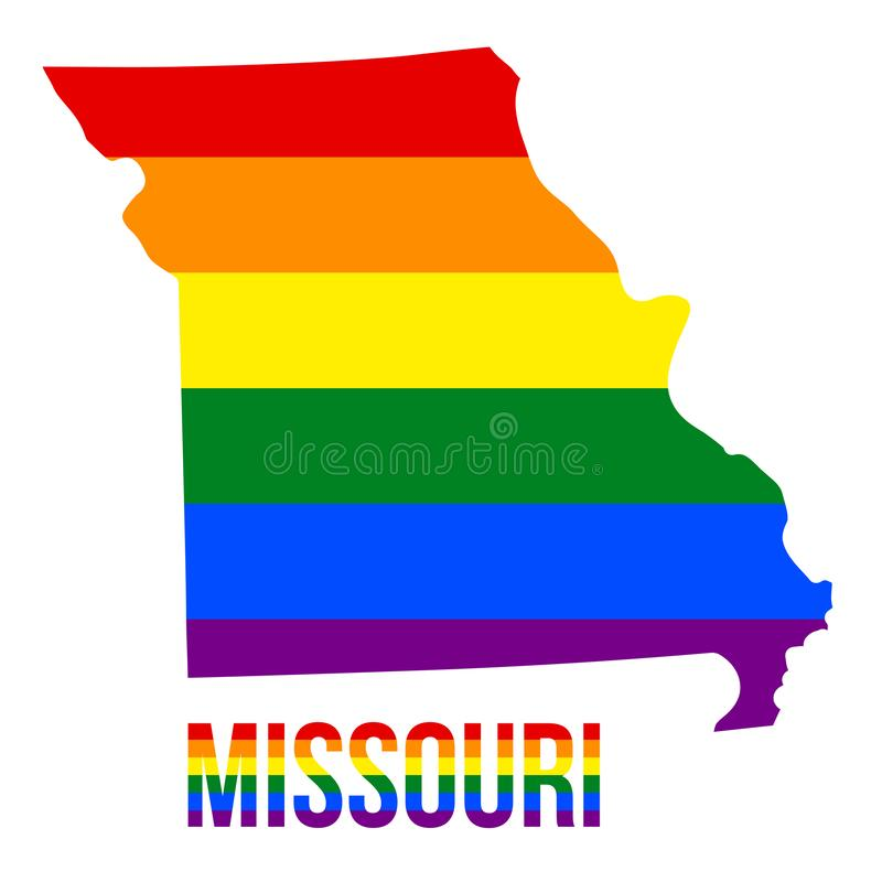 Missouri State Map in LGBT Rainbow Flag Comprised Six Stripes With Missouri LGBT Text. The Flag Comprised Six Stripes; Meaning to Each of The Colors: Life stock illustration