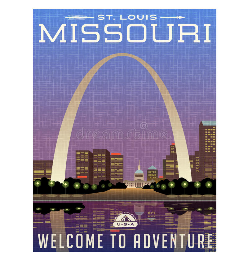 Missouri, United States travel poster or luggage sticker royalty free illustration