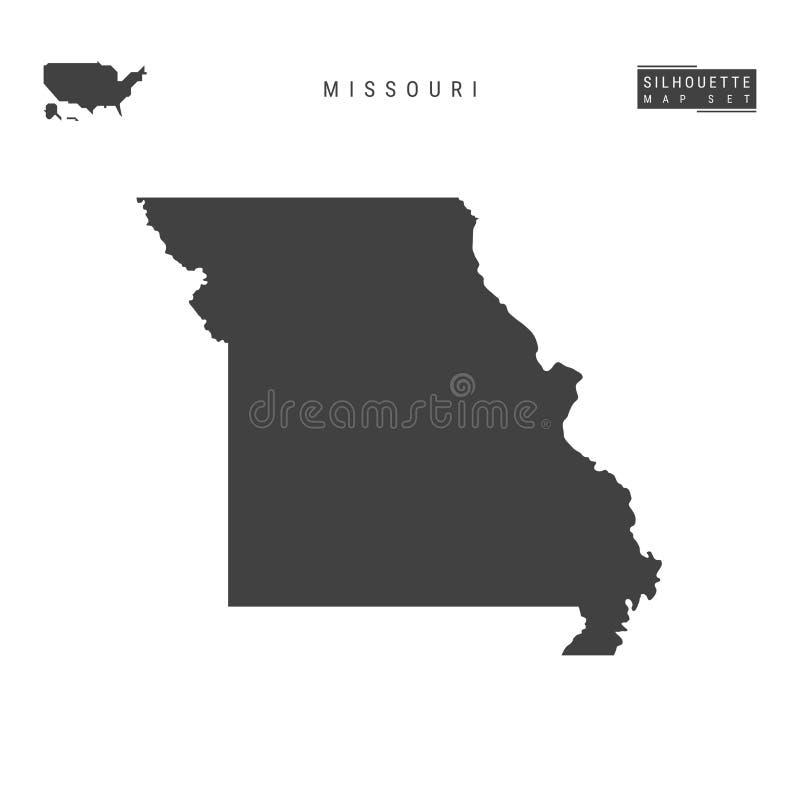 Missouri USA påstår vektoröversikten som isoleras på vit bakgrund Hög-specificerad svart konturöversikt av Missouri stock illustrationer