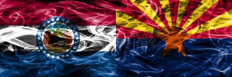 Missouri versus zij aan zij geplaatste vlaggen van de het conceptenrook van Arizona de kleurrijke royalty-vrije stock afbeelding