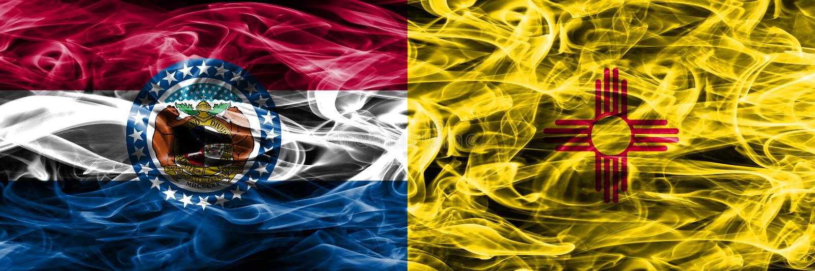Missouri vs New Mexico colorful concept smoke flags placed side by side.  royalty free stock photo