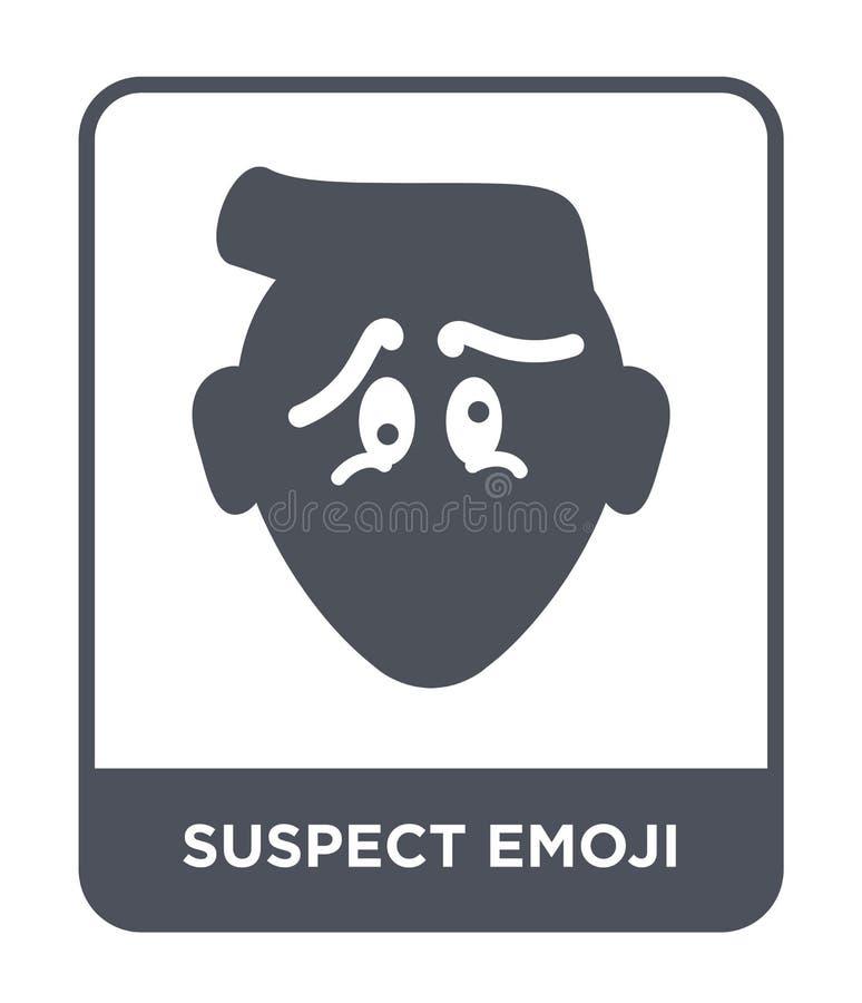 misstänkt emojisymbol i moderiktig designstil misstänkt emojisymbol som isoleras på vit bakgrund misstänkt enkel emojivektorsymbo stock illustrationer